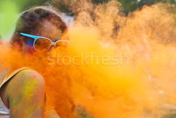 Happy young girl on holi color festival Stock photo © dashapetrenko