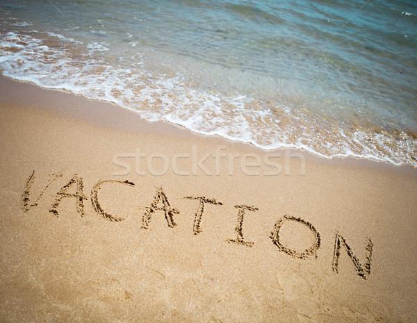 Vakáció írott homokos trópusi tengerpart ünnepek tengerpart Stock fotó © dashapetrenko