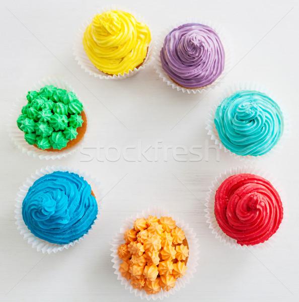 Joyeux anniversaire Rainbow blanche espace de copie alimentaire Photo stock © dashapetrenko
