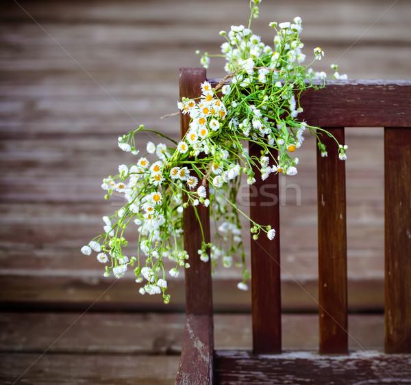 çelenk beyaz papatyalar asılı ahşap çiçek Stok fotoğraf © dashapetrenko
