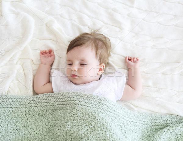 Közelkép portré gyönyörű alszik baba fehér Stock fotó © dashapetrenko