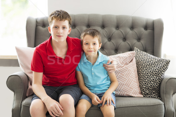 Older brother on the sofa hugging younger brother Stock photo © dashapetrenko