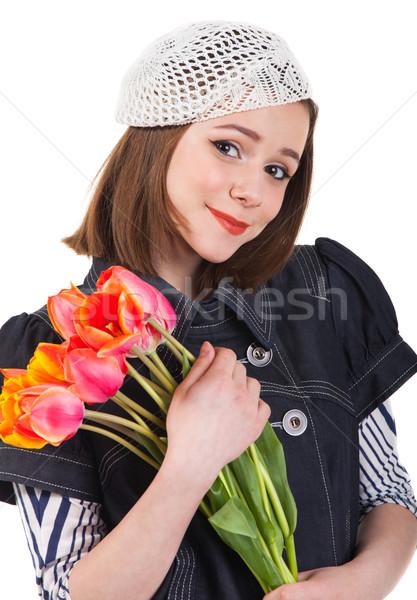 девушки парижский стиль Tulip цветы молодые Сток-фото © dashapetrenko