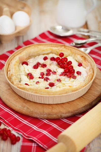 Pie rojo grosella requesón Foto stock © dashapetrenko