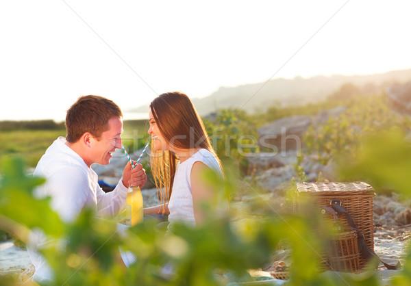 Jeunes heureux couple amour été pique-nique Photo stock © dashapetrenko