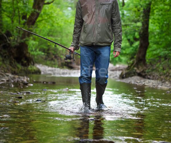 Fisherman with fly-fishing on mountain river. Spring time Stock photo © dashapetrenko