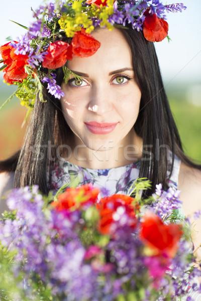 Portré fiatal csinos lány virág koszorú Stock fotó © dashapetrenko