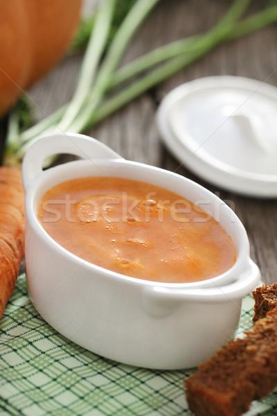 Puchar zupa jarzynowa tabeli restauracji zielone czerwony Zdjęcia stock © dashapetrenko