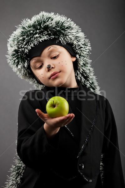 Portré kicsi fiú visel sündisznó öltöny Stock fotó © dashapetrenko