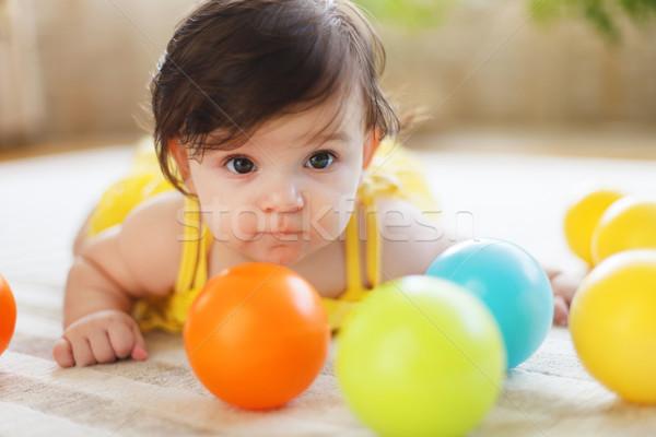 Portret acht oude baby Stockfoto © dashapetrenko
