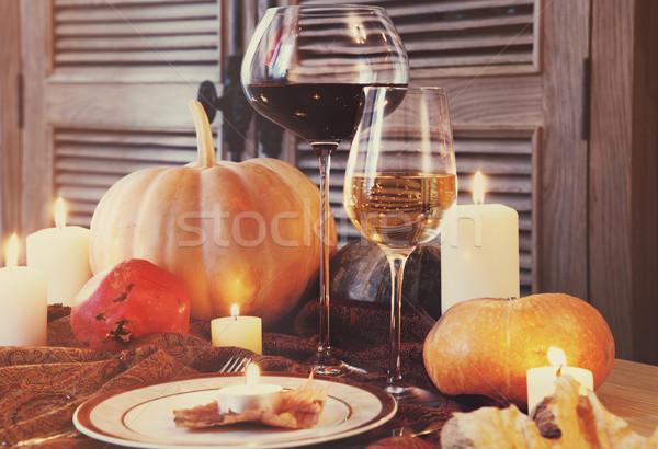 Autumn place setting. Thanksgiving dinner Stock photo © dashapetrenko