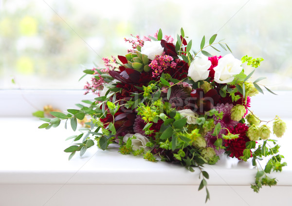 Unusual wedding composition with succulent flowers, fig and hop  Stock photo © dashapetrenko