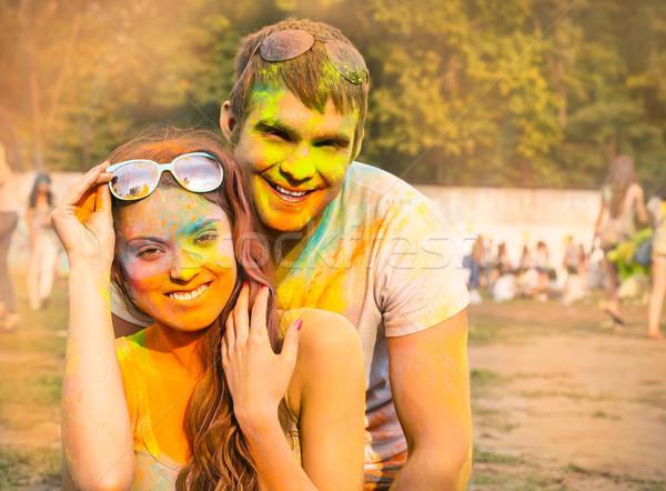 счастливым пару любви цвета фестиваля портрет Сток-фото © dashapetrenko