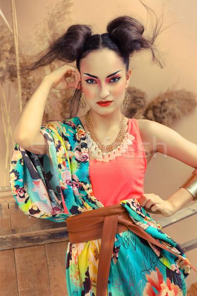стилизованный портрет Японский гейш ярко составляют Сток-фото © dashapetrenko