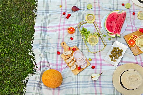 Picknick witte wijn groen gras voedsel partij wijn Stockfoto © dashapetrenko