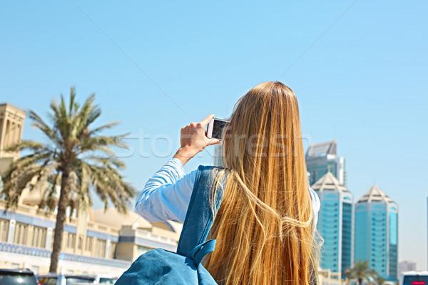 Mulher móvel foto central cidade Foto stock © dashapetrenko