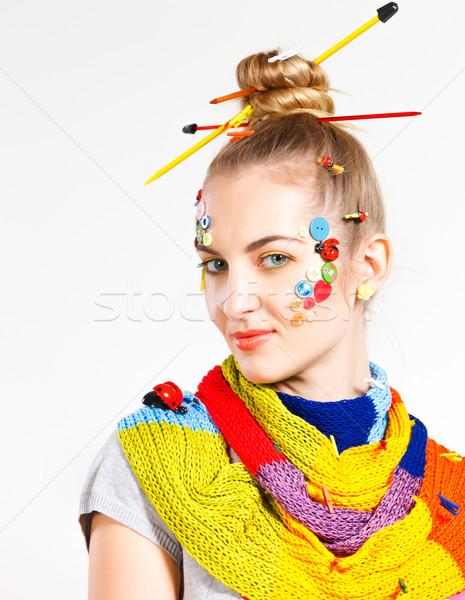 Portret jonge blond vrouw creativiteit kapsel Stockfoto © dashapetrenko