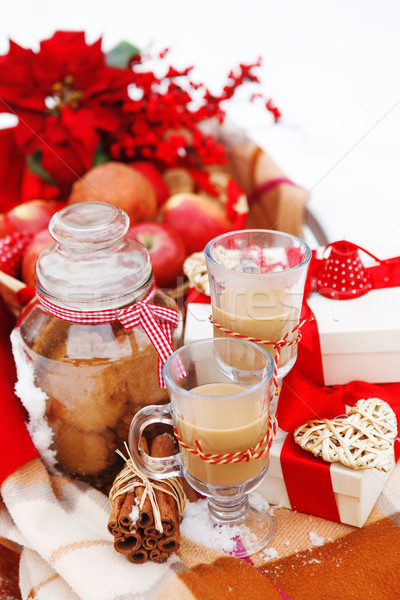 Christmas still life with a Christmas decorations and hot chocol Stock photo © dashapetrenko