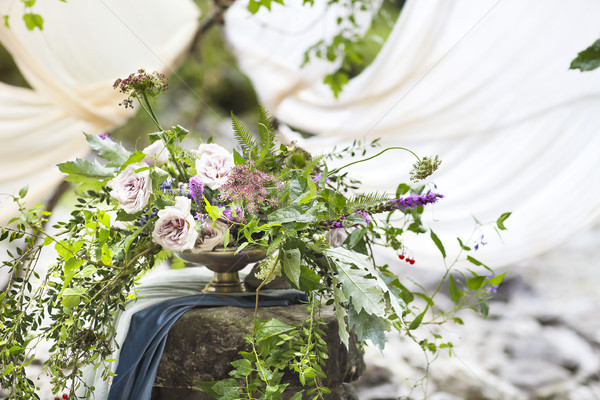 Flor lavanda rosas casamento decorações Foto stock © dashapetrenko