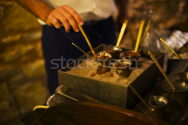 Coffee making on the sand Stock photo © dashapetrenko