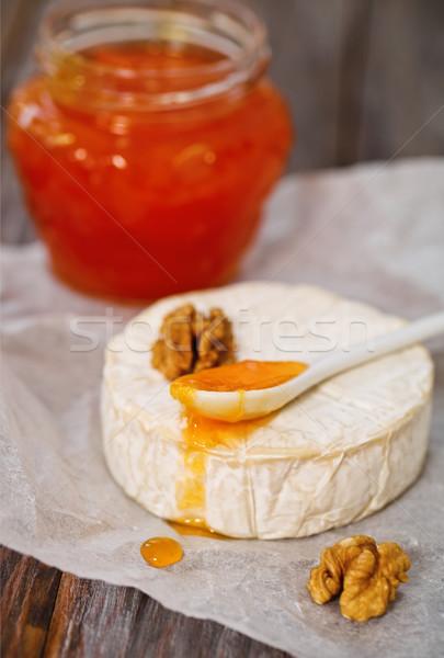 ストックフォト: チーズ · ナッツ · ジャム · 木製のテーブル · グループ · 朝食