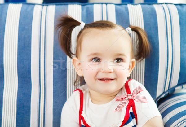 Portré egyéves baba bent közelkép boldog Stock fotó © dashapetrenko
