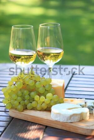 Cheese, grapes and white wine Stock photo © dashapetrenko