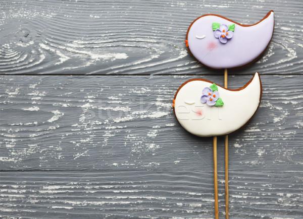 Violeta branco romântico bolinhos cinza Foto stock © dashapetrenko