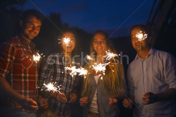 молодые люди Открытый вечеринка женщины Сток-фото © dashapetrenko