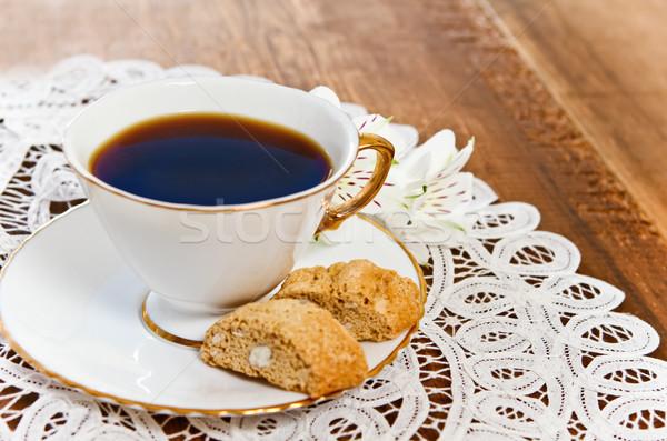 Cookies café fleur bois décoré blanche Photo stock © dashapetrenko