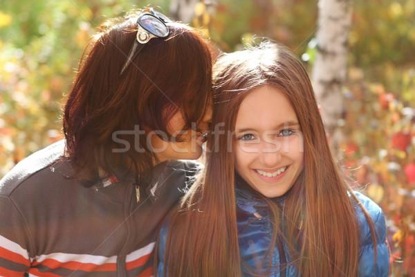 Mãe filha outono parque adolescente sorrir Foto stock © dashapetrenko