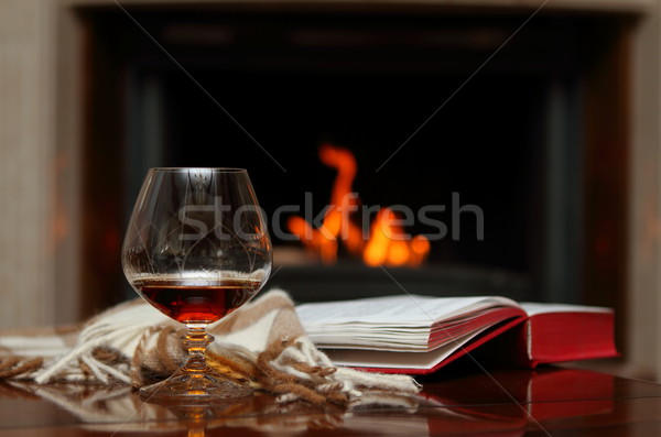 Cognac livre maison rouge chaud alcool Photo stock © dashapetrenko