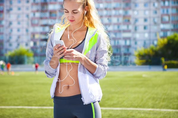 Corredor estadio tema mujer verano fitness Foto stock © dashapetrenko