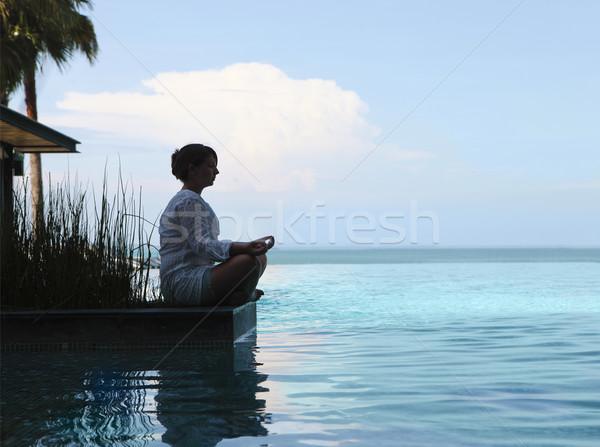 シルエット 魅力のある女性 座って 瞑想 位置 ボディ ストックフォト © dashapetrenko