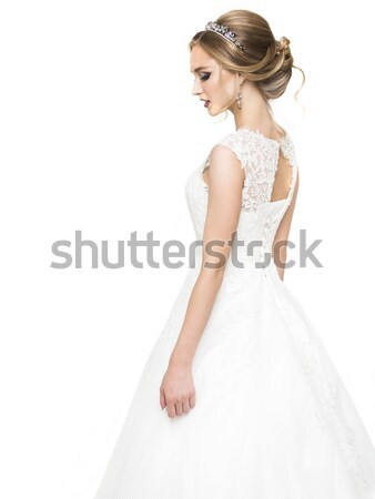 Young pretty caucasian bride in wedding dress Stock photo © dashapetrenko