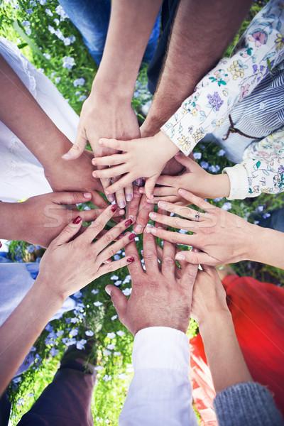 Csoport barátok kezek teljes kör barátság Stock fotó © dashapetrenko