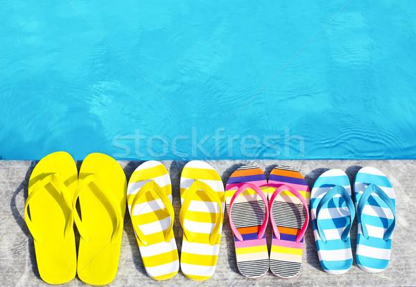 Papucs kő nyár család vakáció tengerpart Stock fotó © dashapetrenko