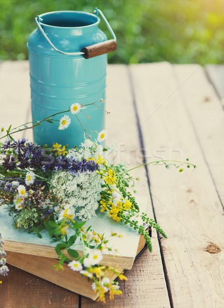 Flores regador velho livros rústico Foto stock © dashapetrenko