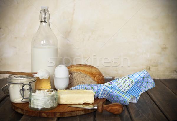 Fresh bread and dairy products Stock photo © dashapetrenko