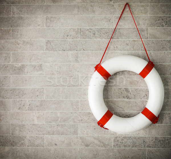 White and red lifebuoy at background Stock photo © dashapetrenko