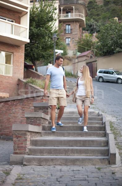 Feliz Pareja amor caminando ciudad Georgia Foto stock © dashapetrenko