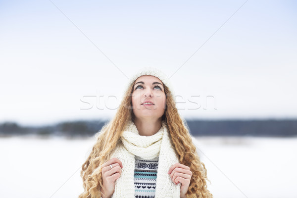 Cute young woman in wintertime outdoor Stock photo © dashapetrenko