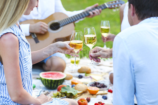 Zomer picknick witte wijn outdoor partij viering Stockfoto © dashapetrenko