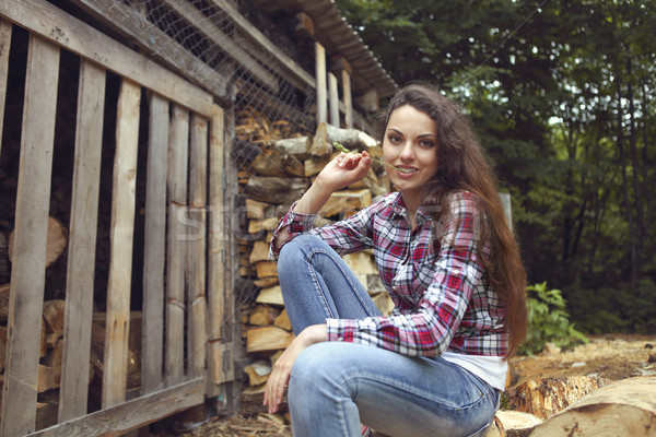 Güzel kadın yakacak odun poz moda doğa Stok fotoğraf © dashapetrenko