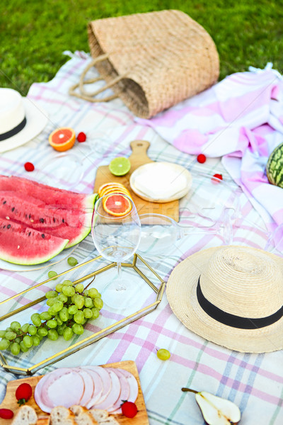 Picnic background with white wine on green grass Stock photo © dashapetrenko