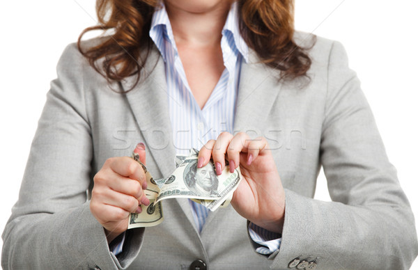 Affaires dollars crise financière femme bureau argent Photo stock © dashapetrenko