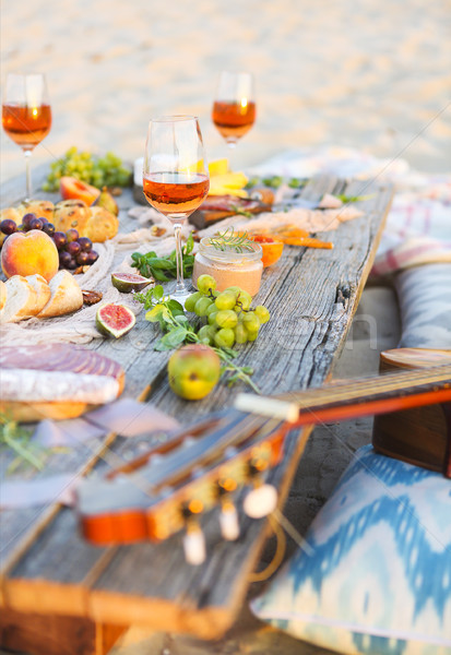 Top view beach picnic table Stock photo © dashapetrenko