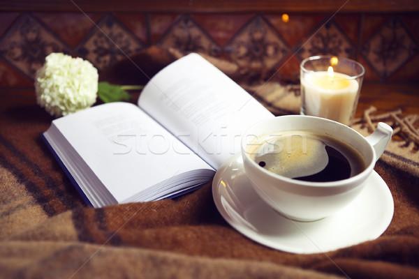 Kávé könyv kockás gyertya otthon étel Stock fotó © dashapetrenko