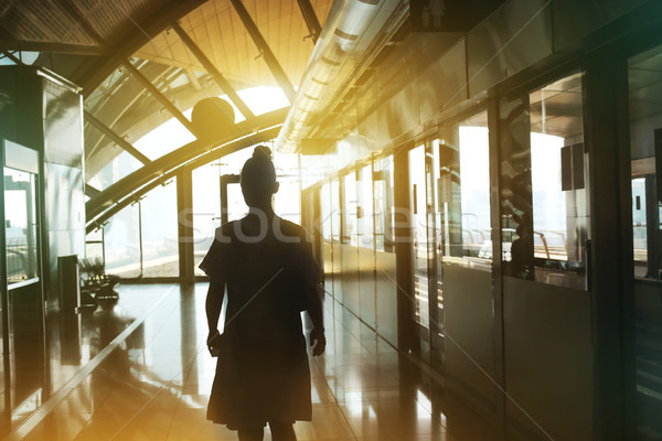 Fiatal nő utazó metró gyönyörű nő lány Stock fotó © dashapetrenko