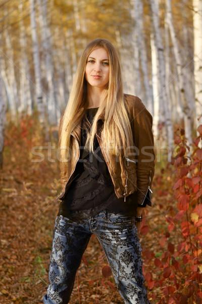 Jovem atraente sorridente menina outono parque Foto stock © dashapetrenko